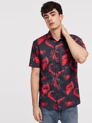 Holiday Shirts For Men - Button Front Animal Print Shirt