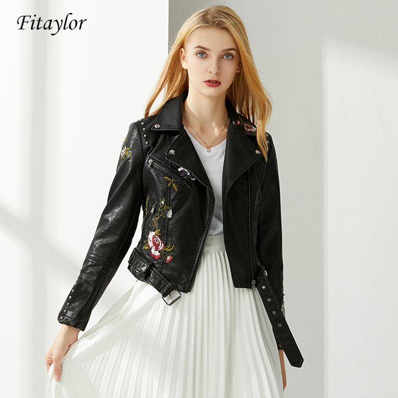 Women Floral Print Embroidery Pu Leather Jacket