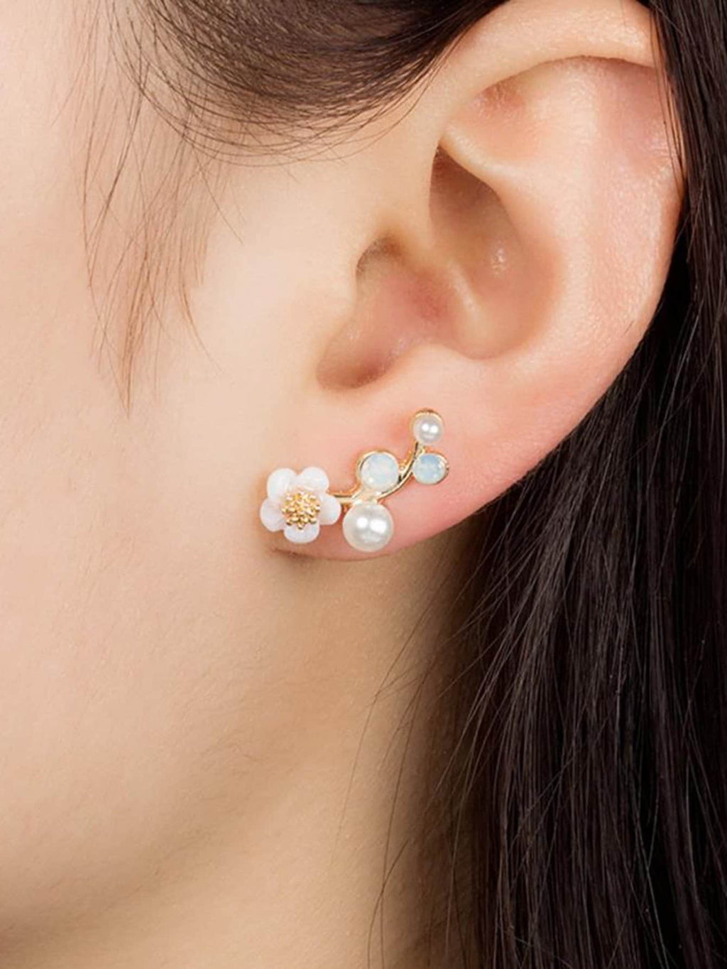 Ladies Earrings - Faux Pearl & Flower Stud Earrings
