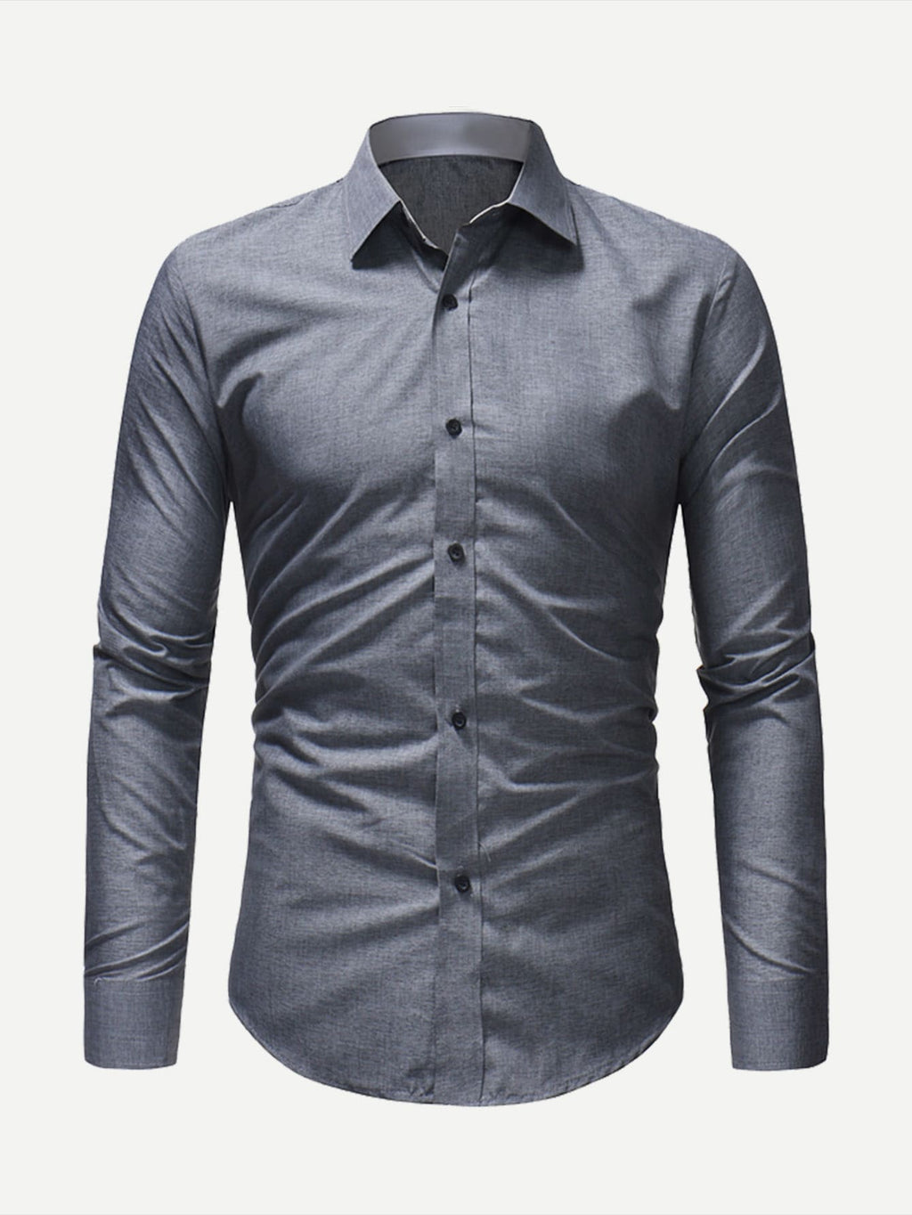 Men's Formal Shirts - Plain Curved Hem Shirt