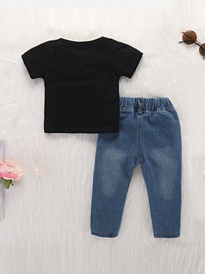 Toddler Boy Shorts - Letter Print Tee With Ripped Jeans