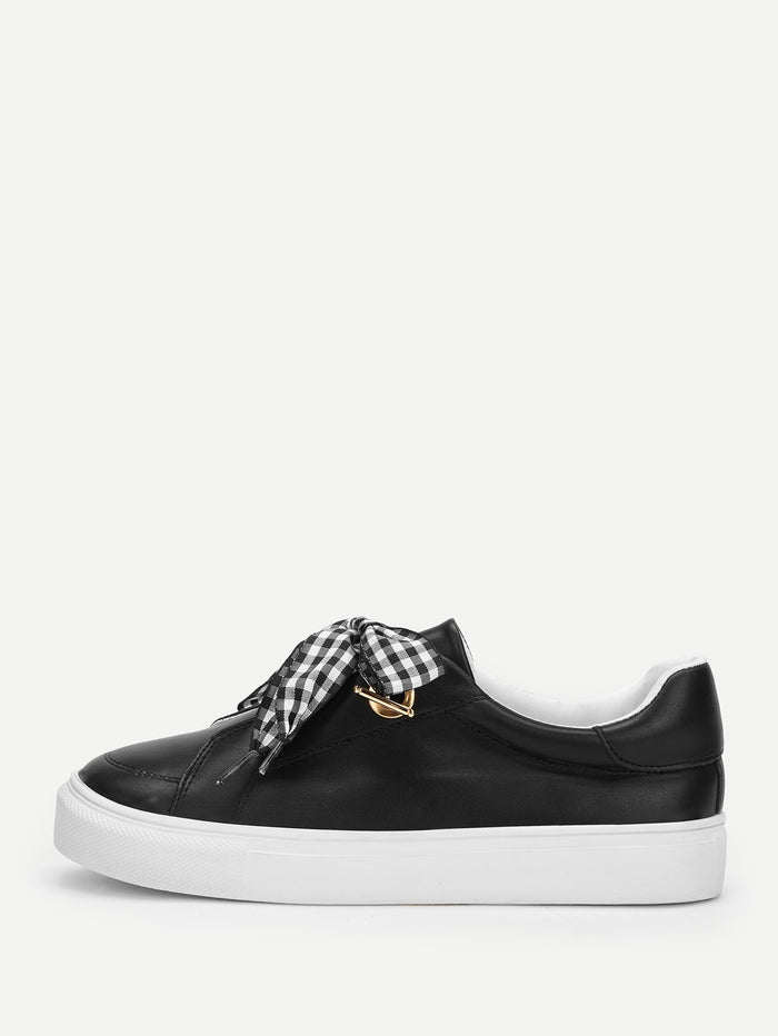Womens Sneakers - Gingham Knot Design PU Sneakers