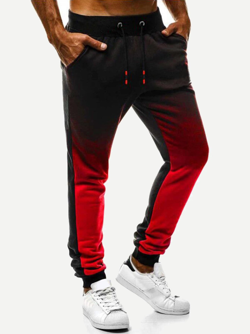 Men's Activewear Pants - Ombre Drawstring Waist Pants