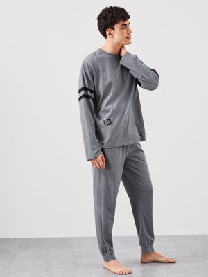 Pajama Sets - Men Patched Detail Tee & Pants PJ Set