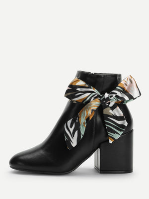 Women Boots - Scarf Detail Pointed Toe Boots
