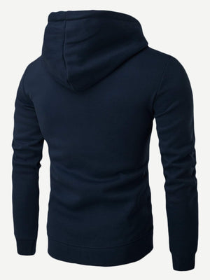 Men's Hoodies - Letter Print Zip Up Hoodie