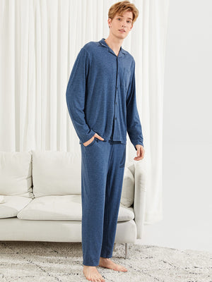 Pajama Sets - Men Pocket Patched Solid Shirt & Pants PJ Set