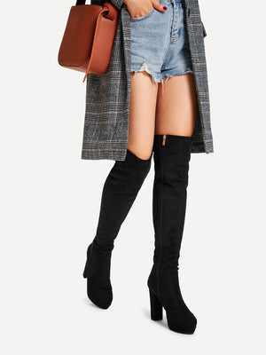 Women Boots - Platform Block Heeled Thigh High Boots