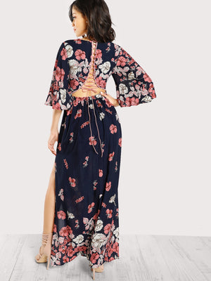 Kimono - Plunge Neck Lace Up Back Slit Dress