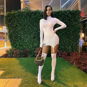 Sexy Women Long Sleeve Bodycon Dress New Autumn Fashion Stand Collar Skinny Mini Dress With Garters Stockings Ladies Dress