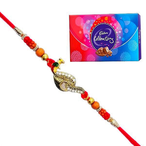 1 Rakhi - Beautiful Pearl Rakhi with Cadbury Celebrations Chocolate Box