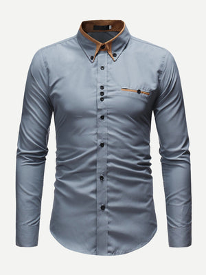 Men's Formal Shirts - Men Contrast Neck Shirt