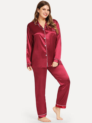 Plus Contrast Binding Satin Pajama Set