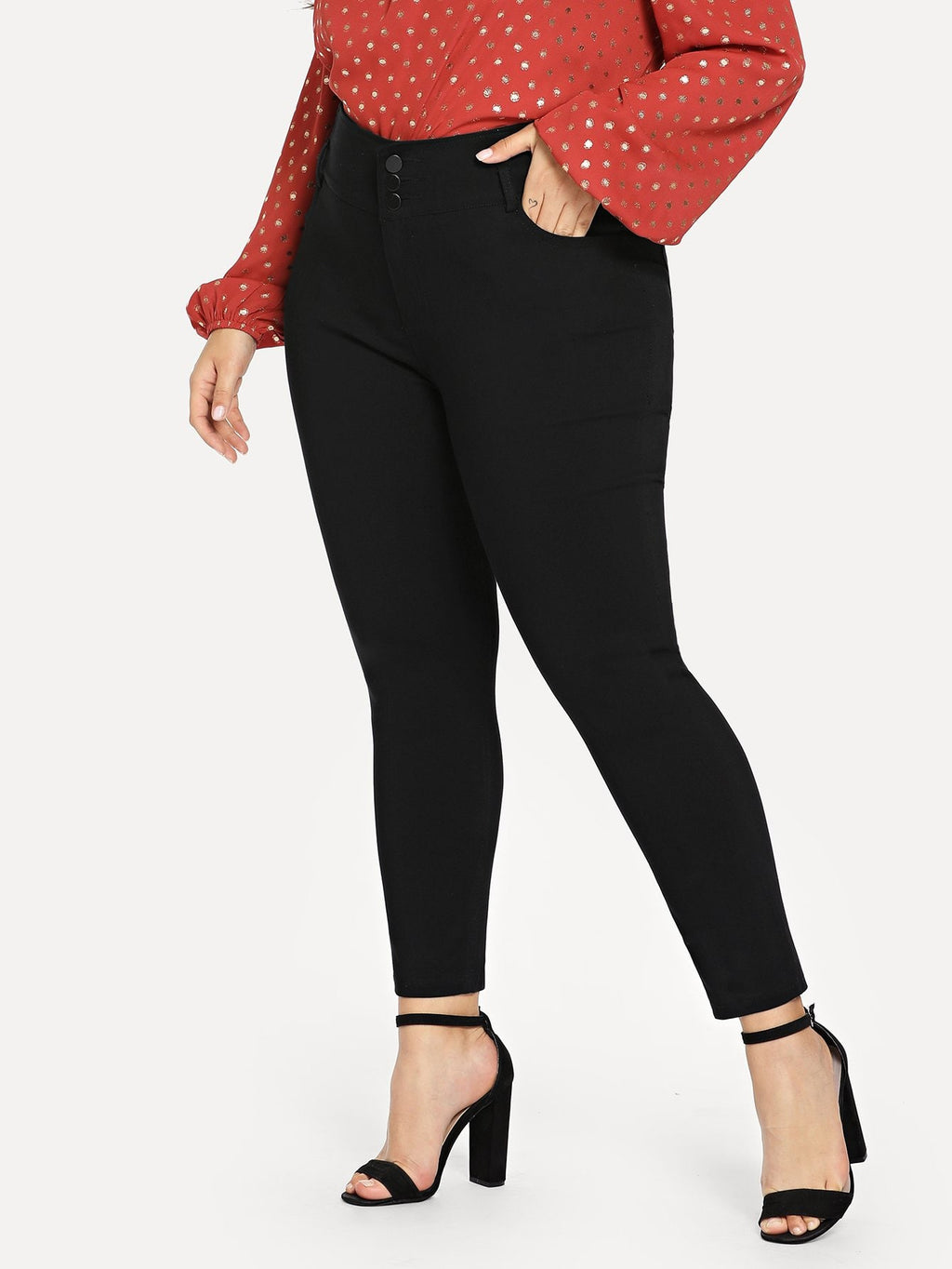 Plus Size Jeans - Button Front Solid Jeans