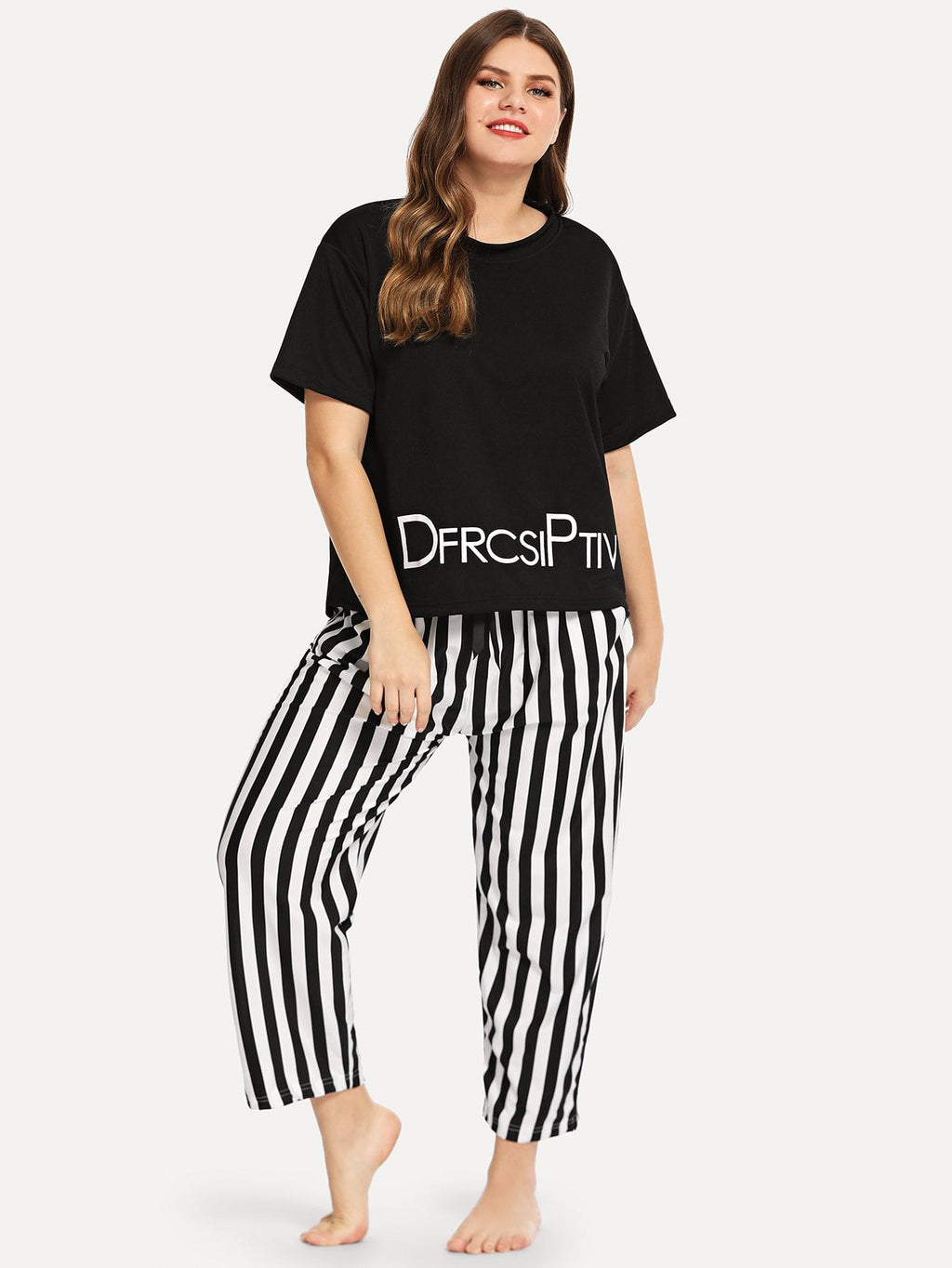 Plus Letter Print Striped Pajama Set