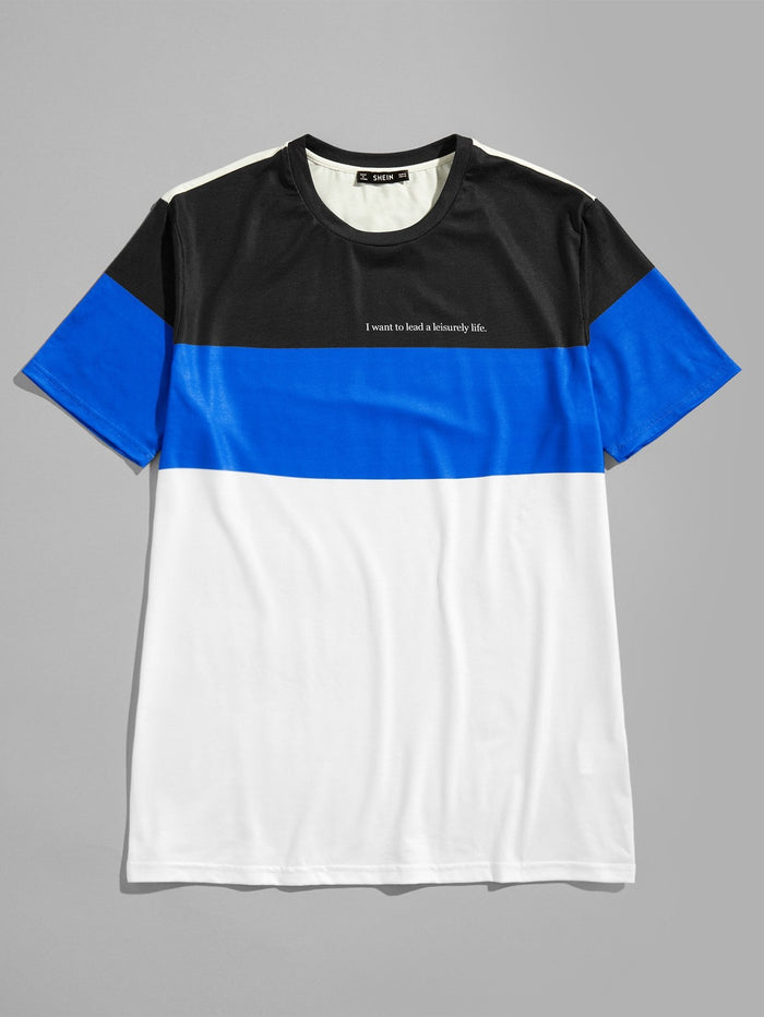 T-Shirts For Men - Cut and Sew Letter Tee