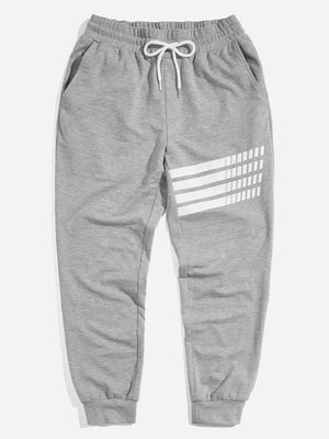 Pajamas - Men Drawstring Waist and Elastic Hem Sweat Pants