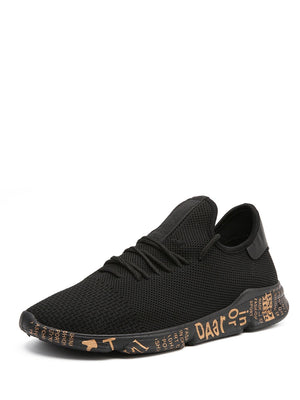Running Shoes For Men - Lace Up Slogan Sole Trainers
