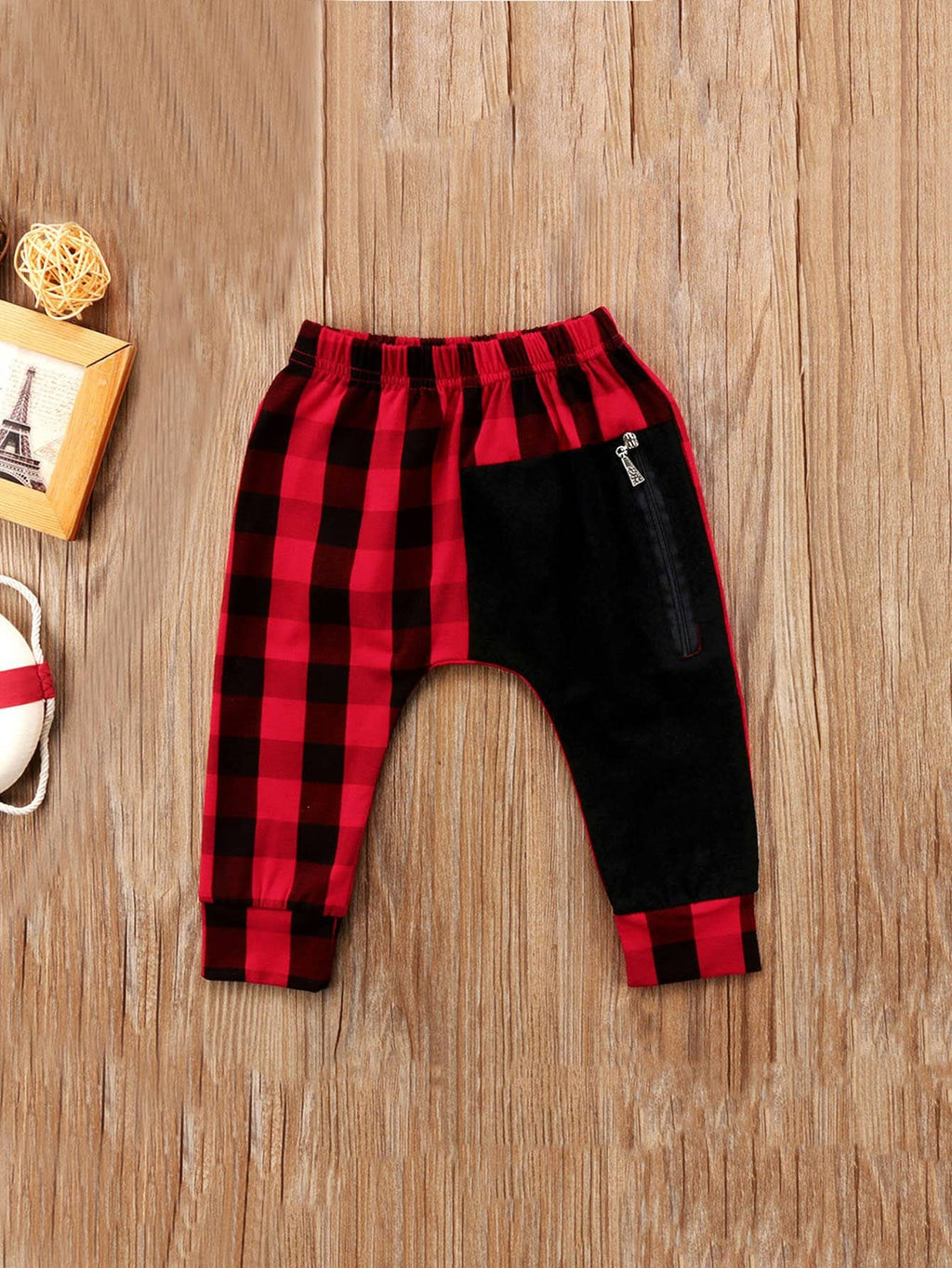 Toddler Boy Pants - Zipper Detail Gingham Pants