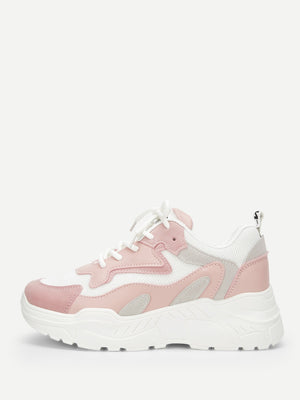 Womens Sneakers - Lace-up Chunky Sole Trainers