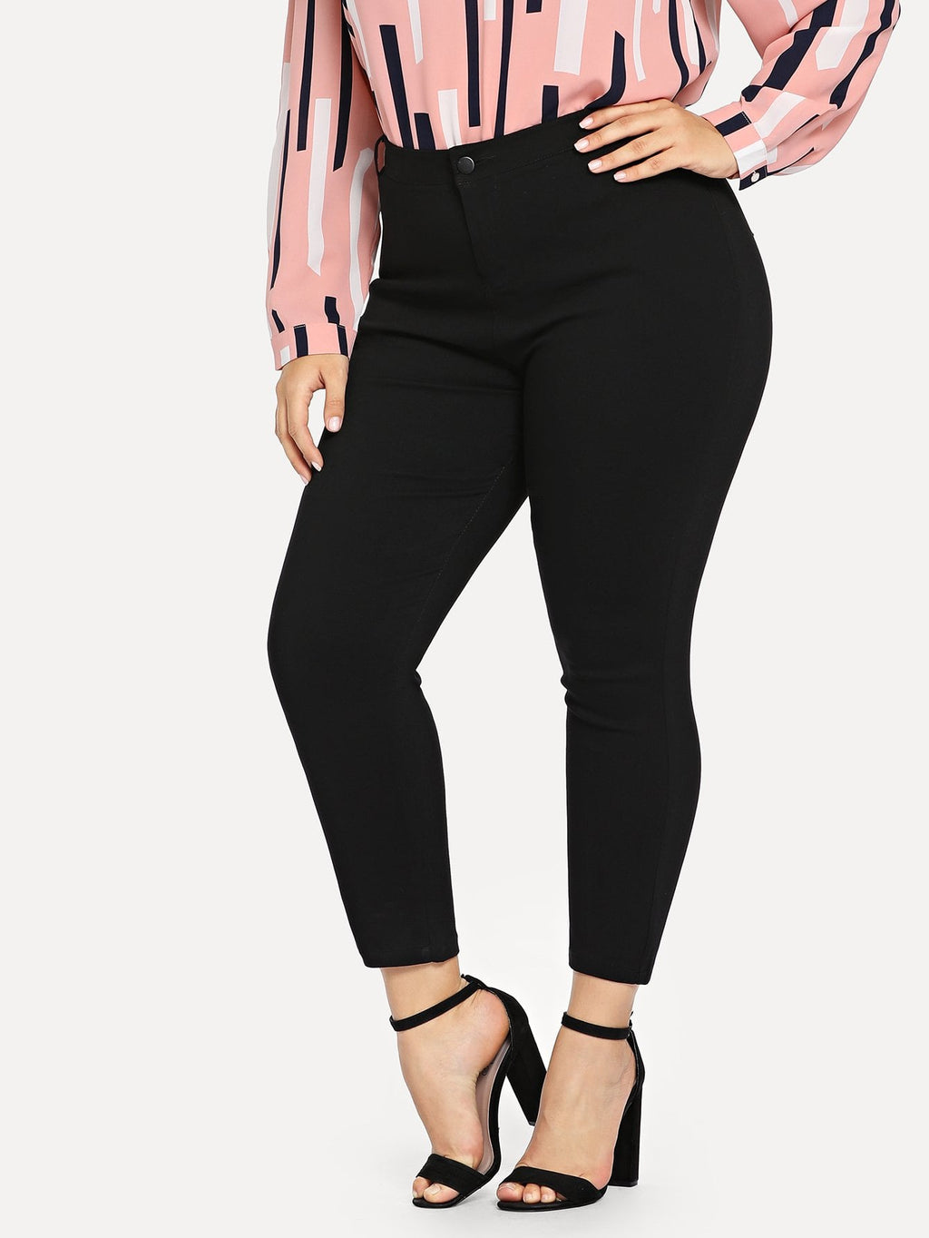 Plus Size Jeans - Solid Skinny Ankle Jeans