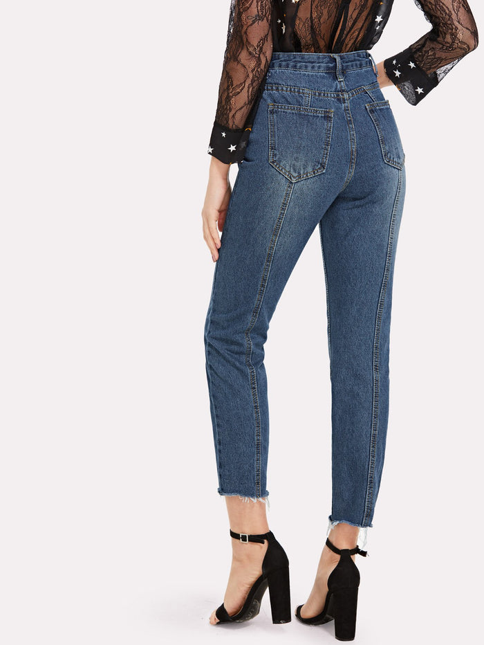 Jeans For Women - Raw Hem Ankle Jeans
