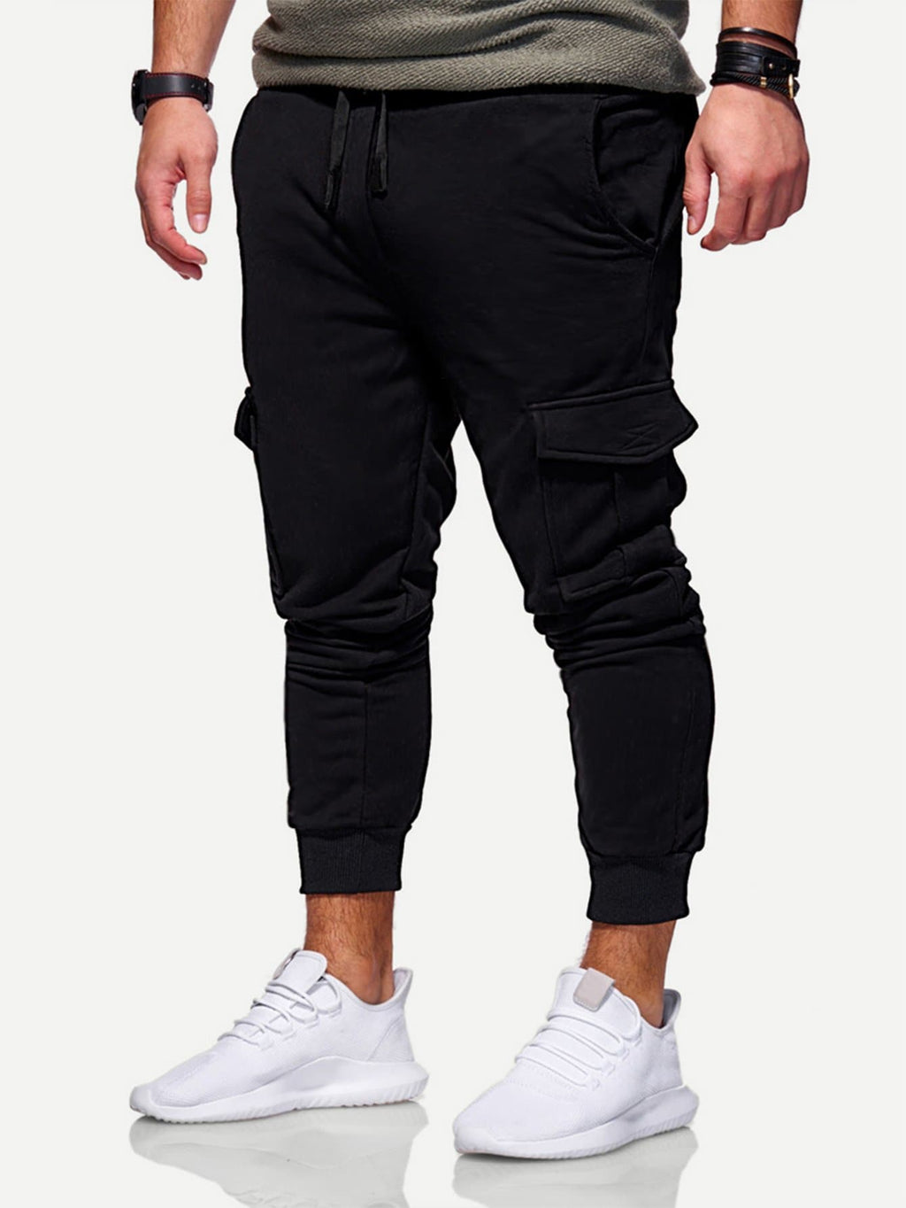 Men's Activewear - Solid Pockets Decoration Drawstring Joggers