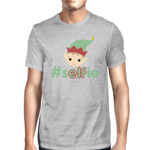 Hashtag Selfie Elf Mens Grey Shirt