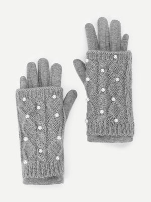 Girls Gloves - Faux Pearl Decorated Gloves