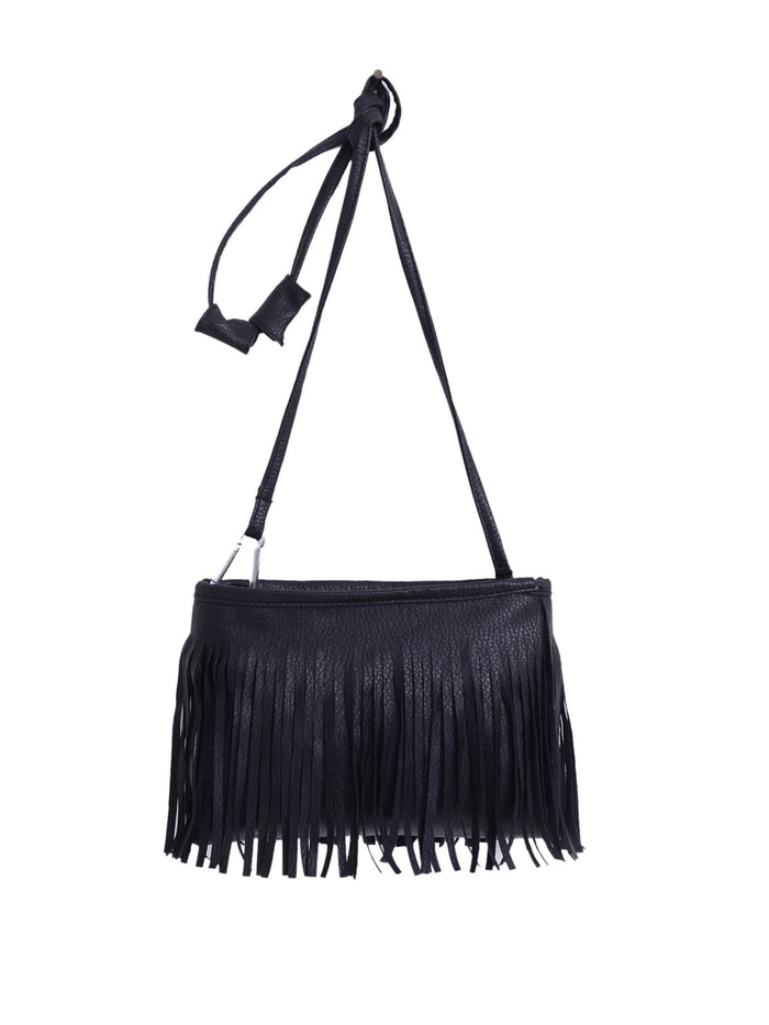 Bags For Women - Faux Leather Tassel Crossbody Bag - Black