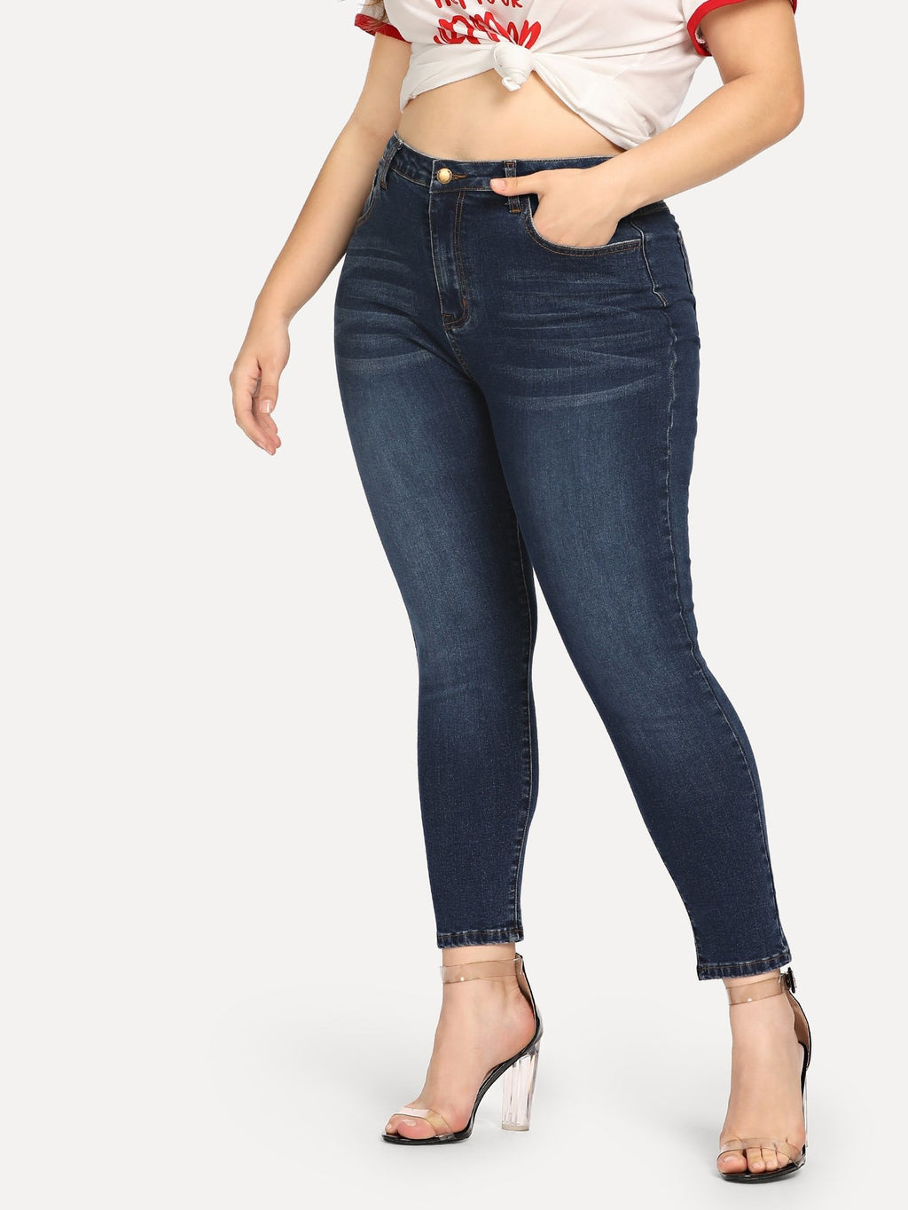 Plus Size Jeans - Dark Wash Skinny Crop Jeans