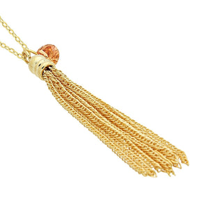 Small Tassel Necklace, 925 Sterling Silver, 14K Gold Plated Tassel Pendant