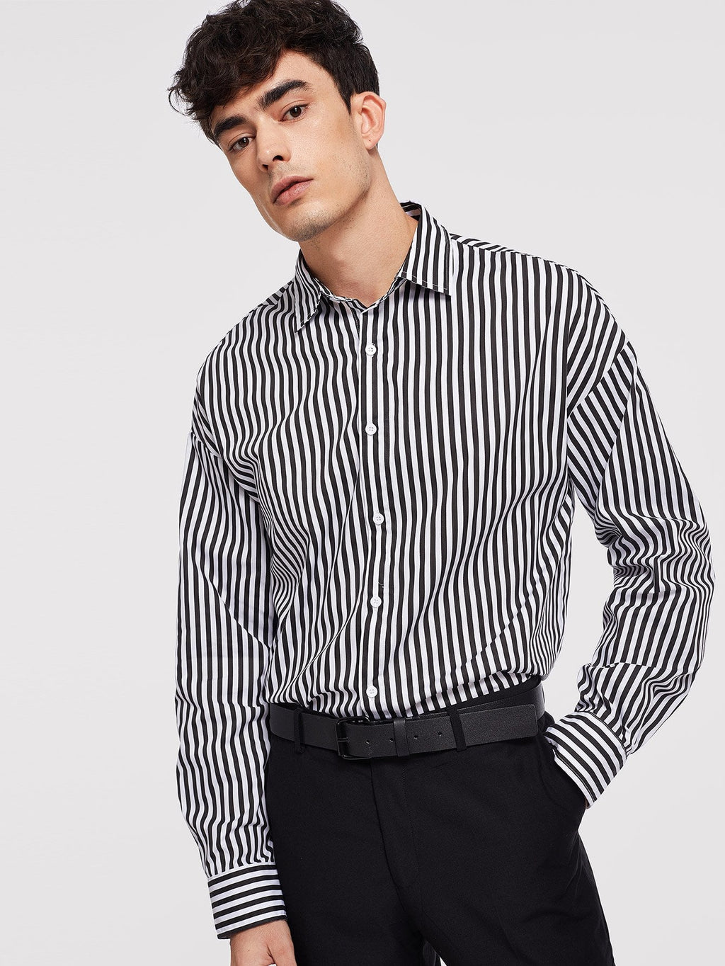 Men's Formal Shirts - Button Front Striped Shirt