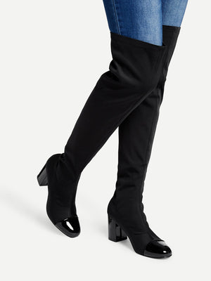 Riding Boots - Cap Toe Block Heeled Thigh High Boots