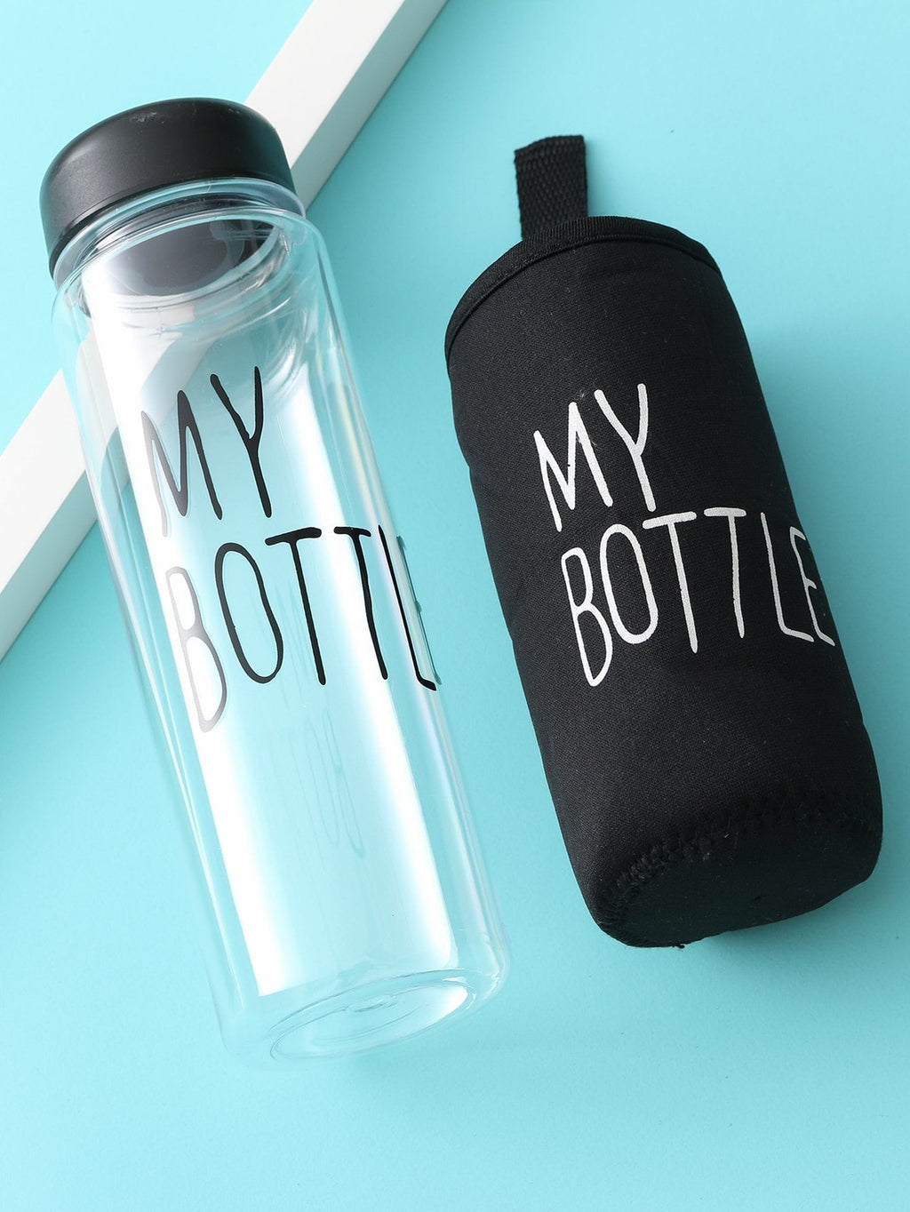 School Water Bottles - Clear Water Bottle 500ML With Bag
