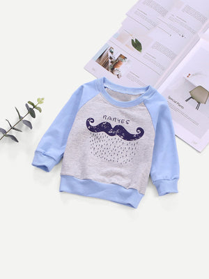 Toddler Boy Sweatshirt - Contrast Raglan Sleeve Cartoon Print