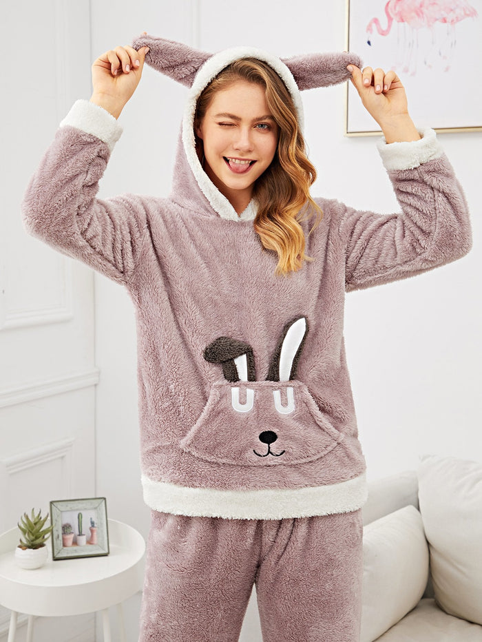 Pajama Set - Rabbit Pattern Fluffy Hooded
