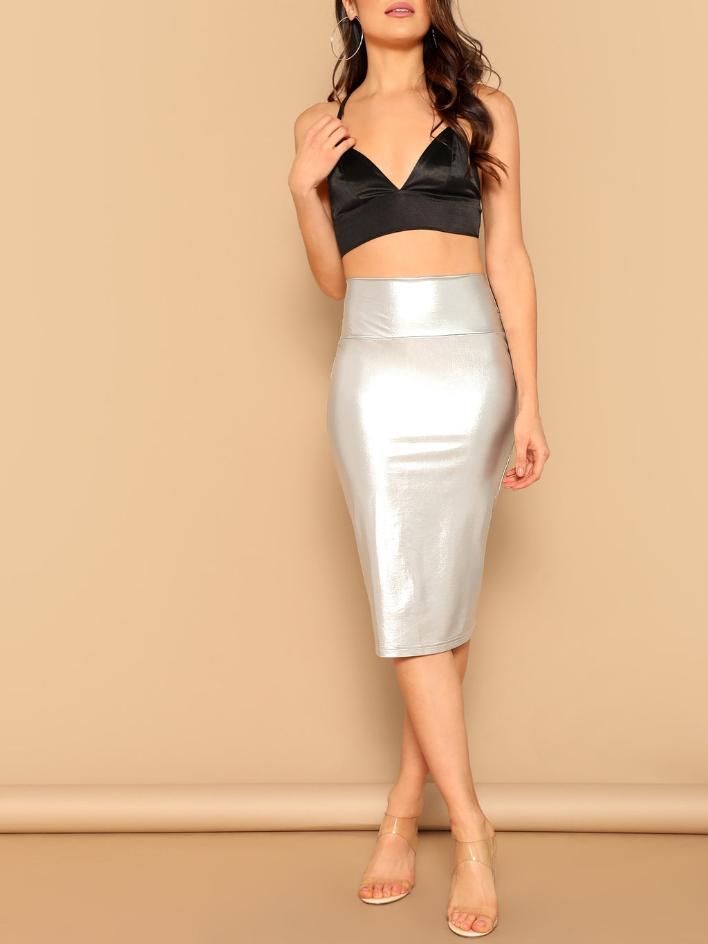 Wide Waist Metallic Bodycon Skirt