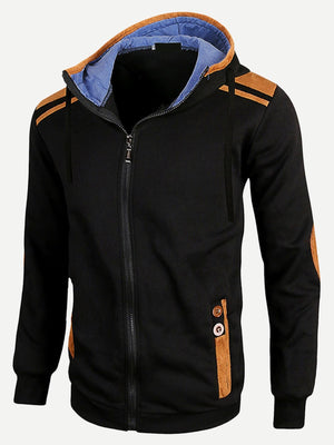 Men's Hoodies - Contrast Suede Zip Up Hoodie