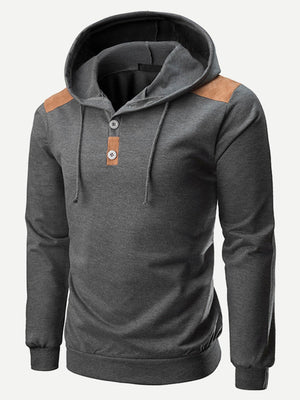 Men's Hoodies -  Drawstring Detail Hooded Sweatshirt