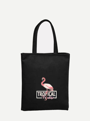 Shopping Bags - Flamingo Print Tote Bag
