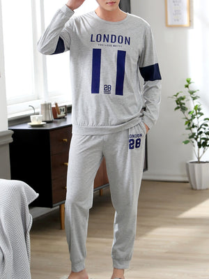 Men's Pajamas - Number & Letter Print Pajama Set