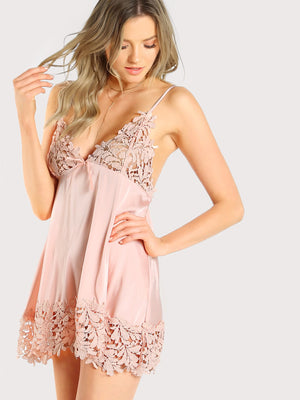 Nighty - Guipure Lace Panel Nightdress