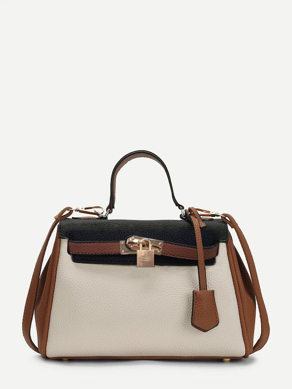 Work Bags - Piping Detail Color Block PU Shoulder Bag