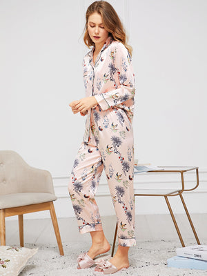 Satin Pajamas - Botanical Print Satin Pajama Set