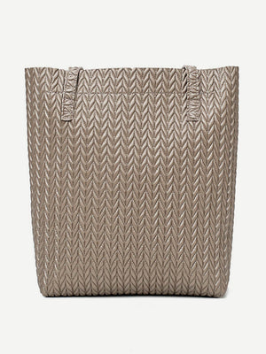 Women's Bags and Purse - Chevron Textured Combination Bag 3pcs