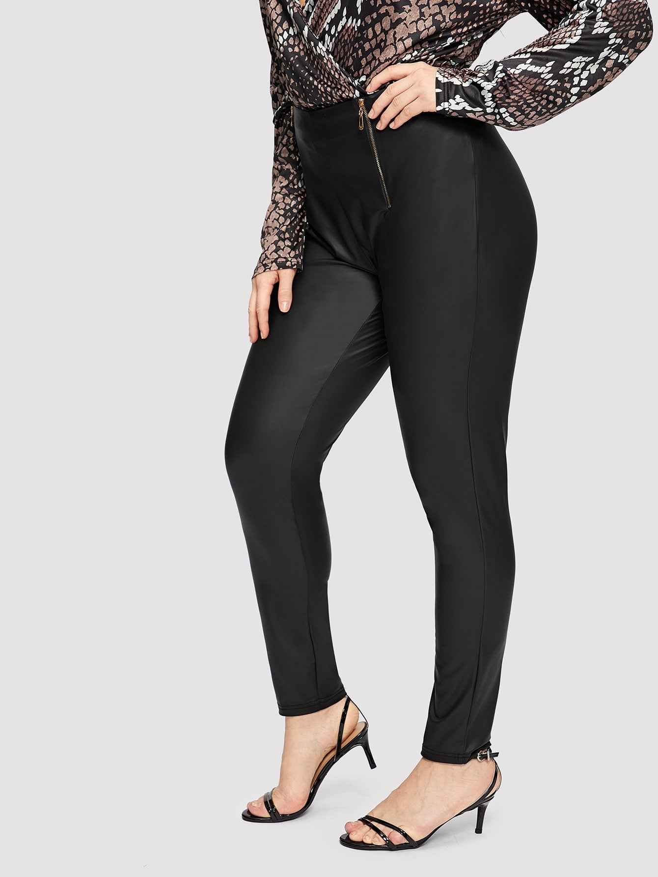 Plus Size Dress Pants - Exposed Zipper Detail Skinny Pants