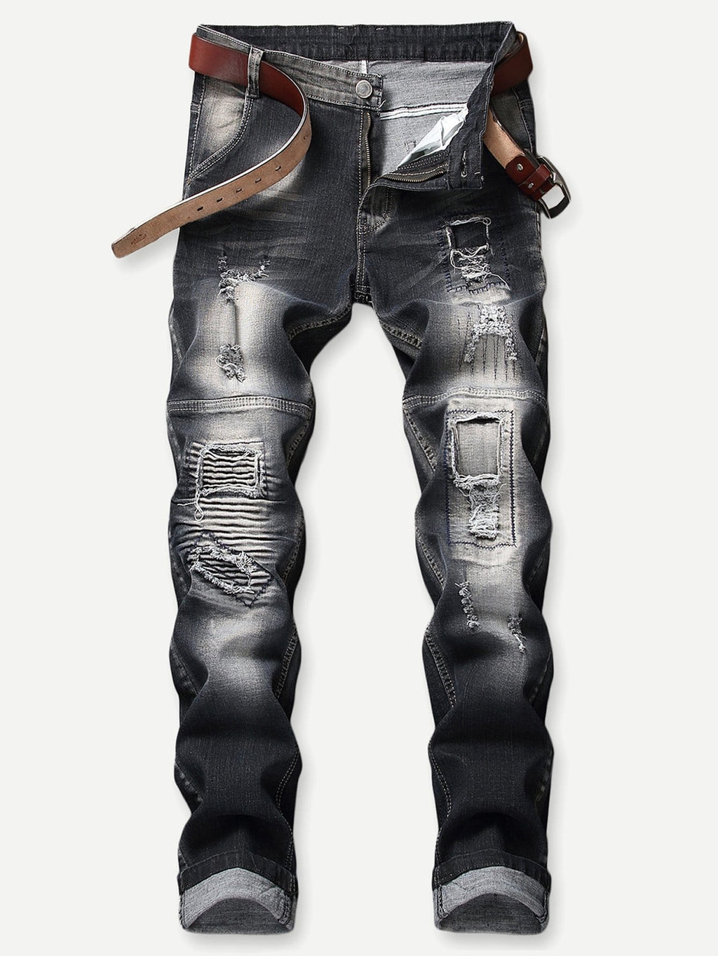 Jeans Pants - Men Ripped & Shirred Detail Jeans