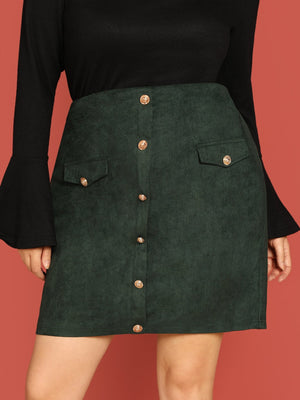 Plus Size Skirts - Button Up Skirt