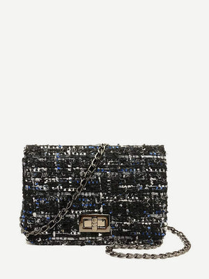 Ladies Wristlets - Tweed Crossbody Chain Bag